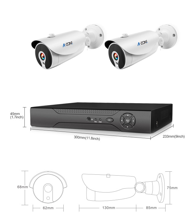 960P 2Ch Poe CCTV Camera Kit Outdoor , Poe Security Camera System