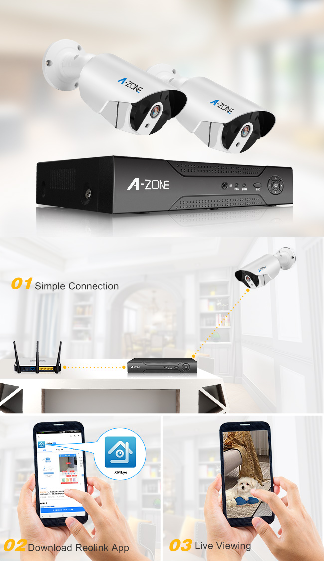 2 Camera Cctv Dvr System With Hard Drive , Waterproof AHD CCTV Camera