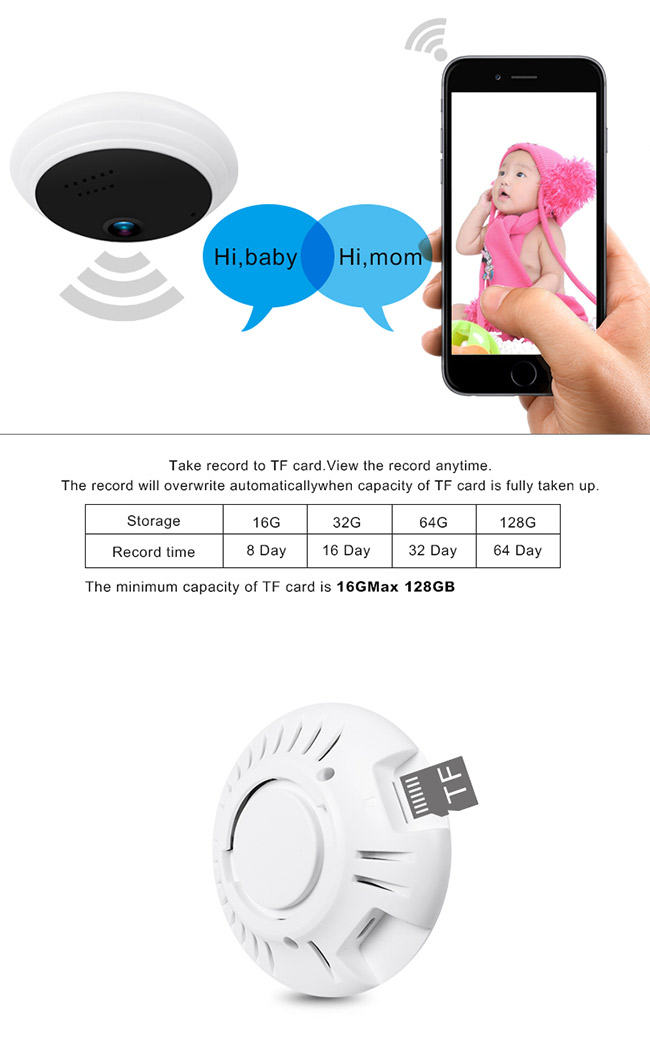 Automatic WiFi Fisheye Security Camera Ip Support H.264+ For Home