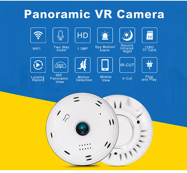 P2P 360 Panoramic Fisheye Dome Camera Vr Video Hd 64G SD CARD