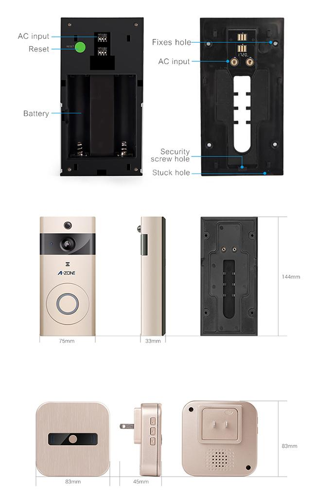 720P PIR Function Wireless Video Intercom Doorbell For Apartments